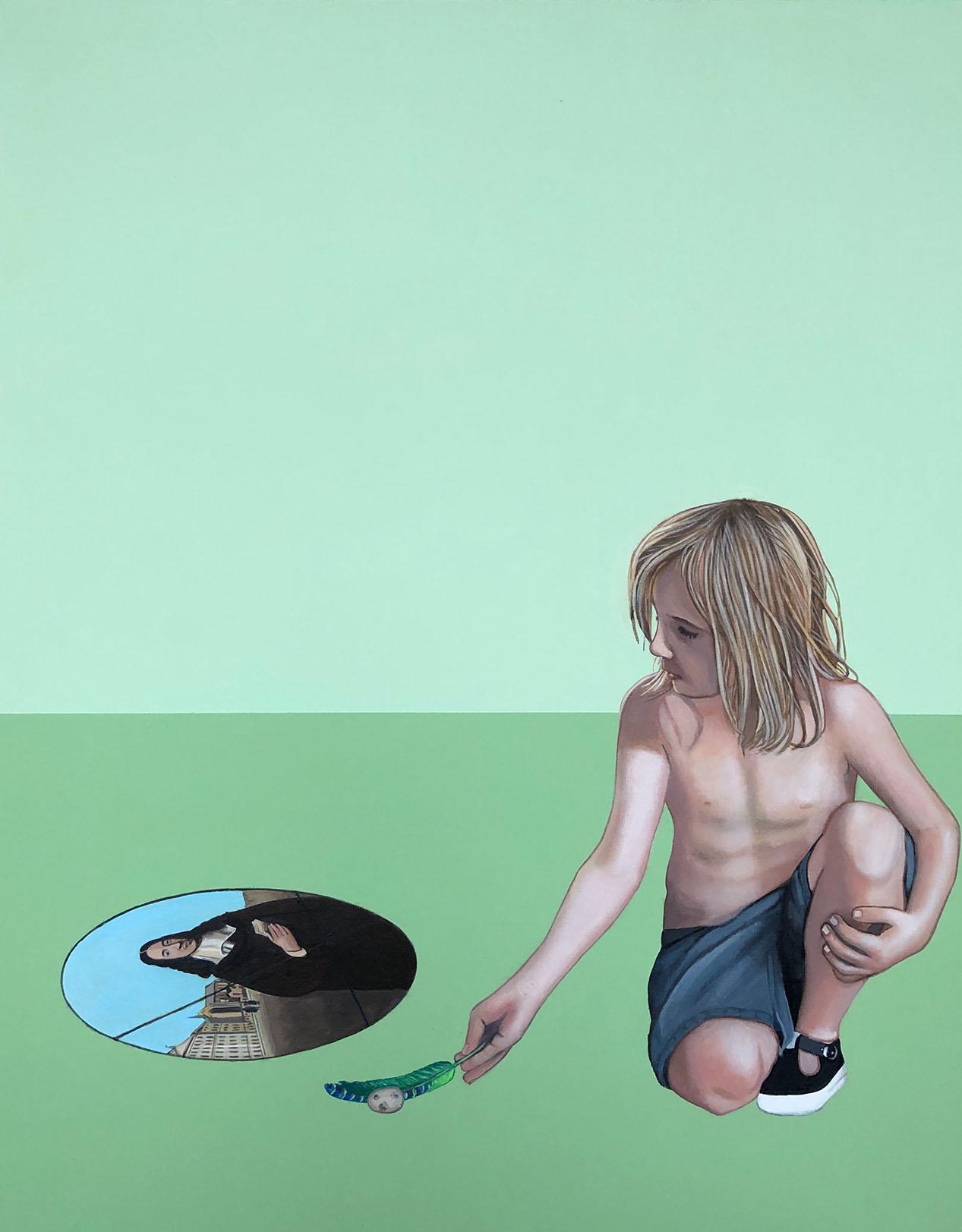 Cristina Ruiz Guinazu, Les causes extérieures, acrylics on canvas, 92 x 73 cm, 2019
