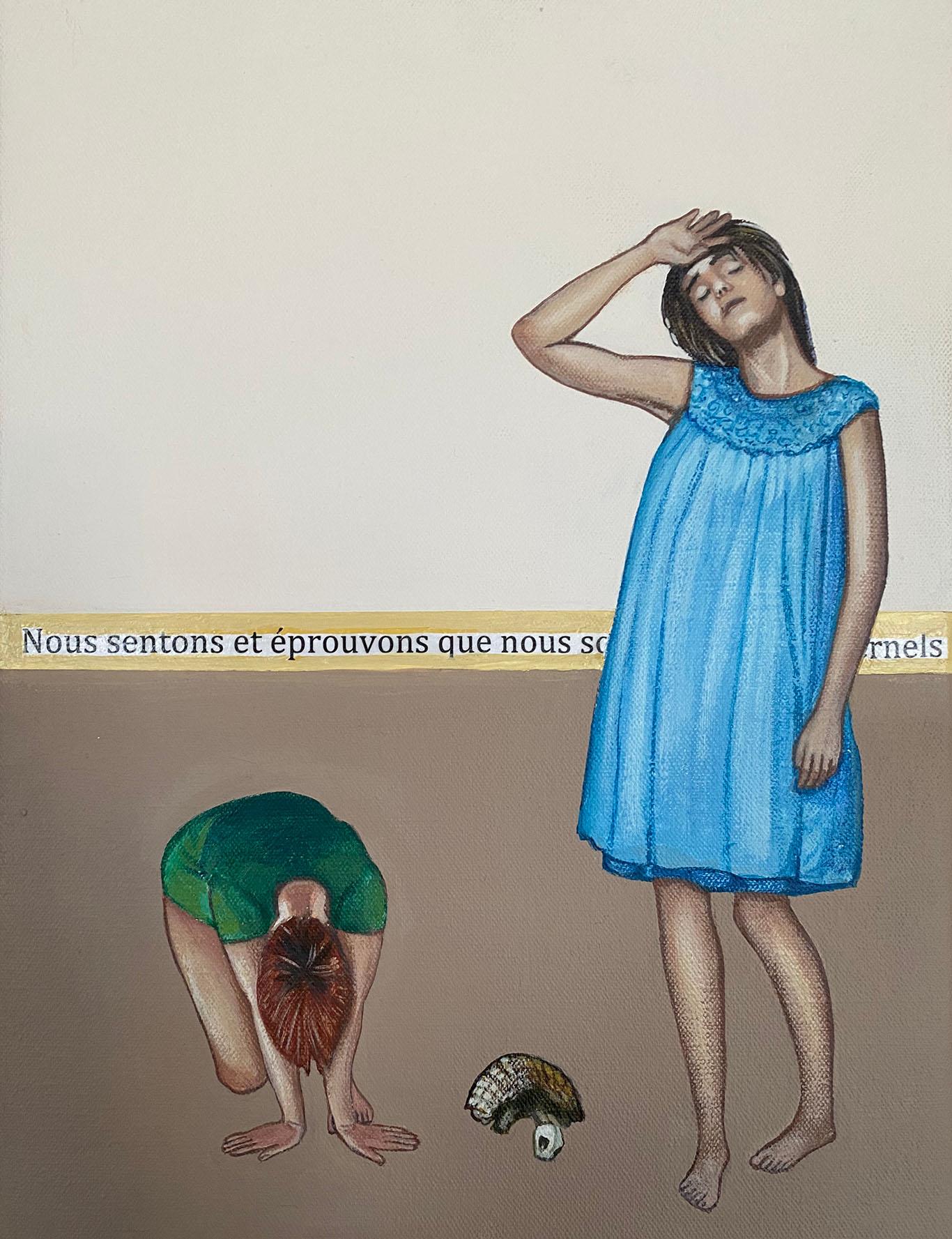 Cristina Ruiz Guinazu, Nous sommes éternels, collage and acrylics on canvas, 35 x 27 cm, 2020