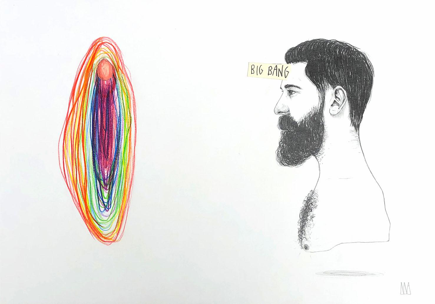 Mateo Andrea, BIG BANG, mixed media on paper, 29.7 x 42 cm, 2019