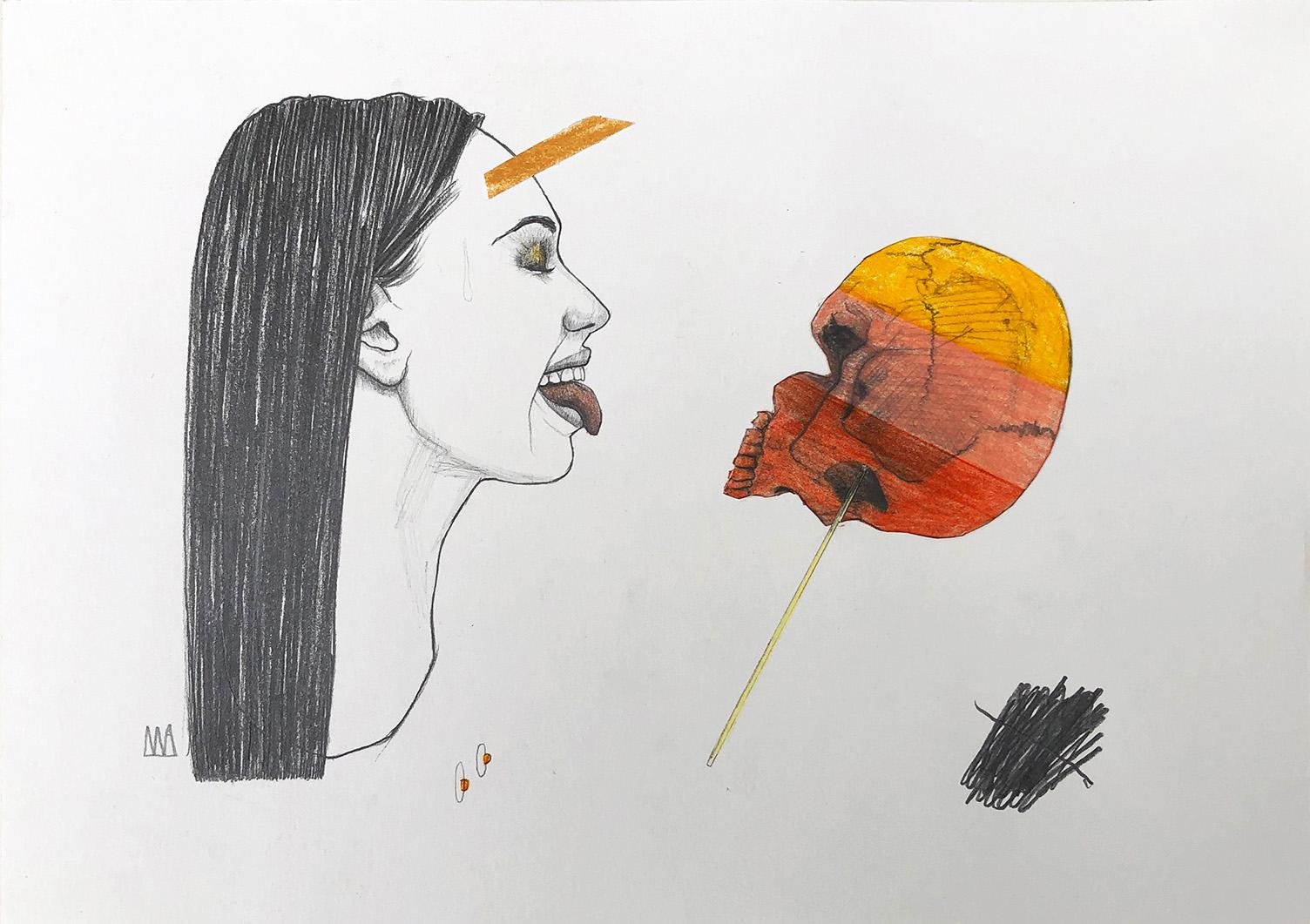 Mateo Andrea, LOLLIPOP, mixed media on paper, 21 x 29.7 cm, 2020