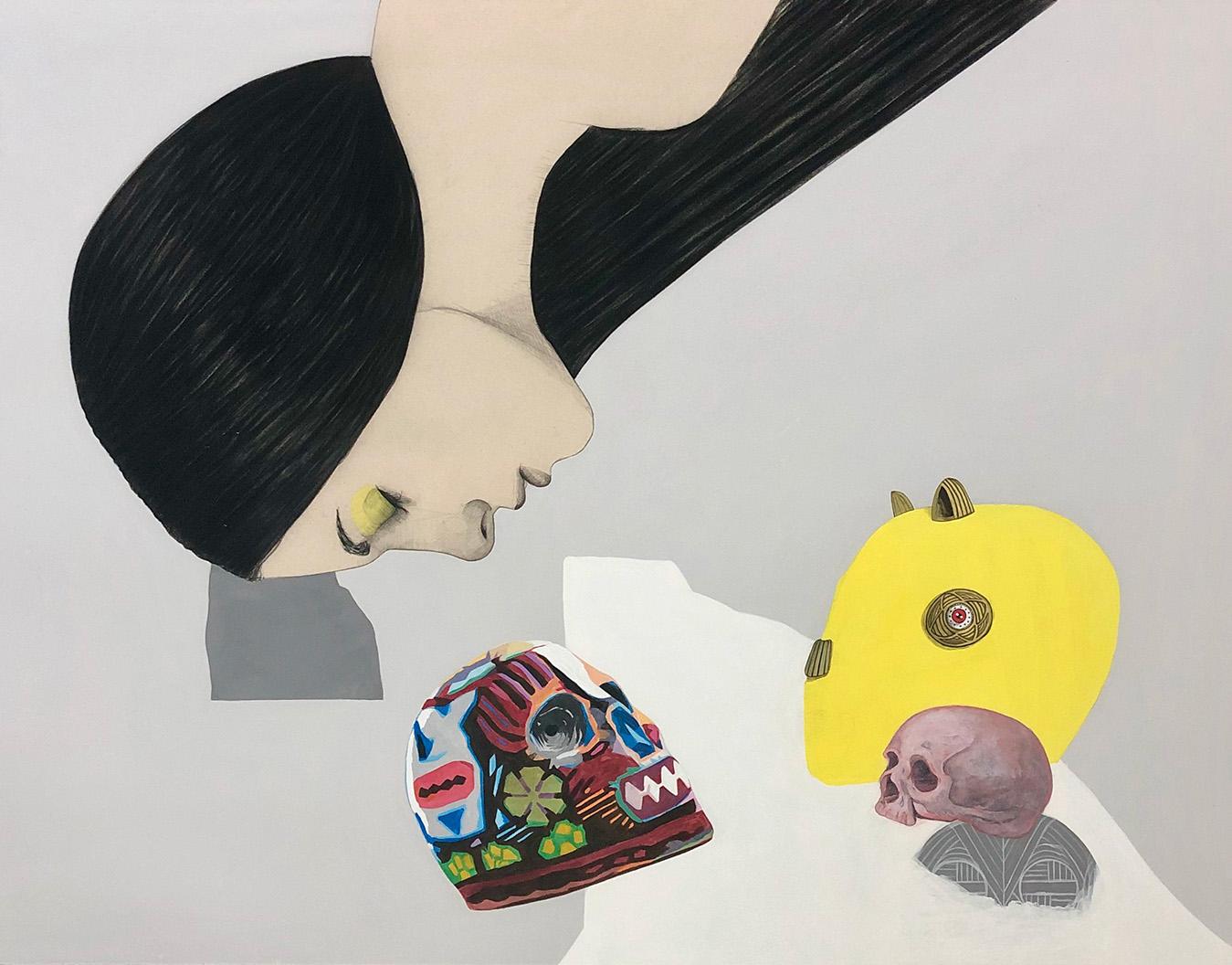 Mateo Andrea, Mascaras, mixed media on canvas, 114 x 146 cm, 2020
