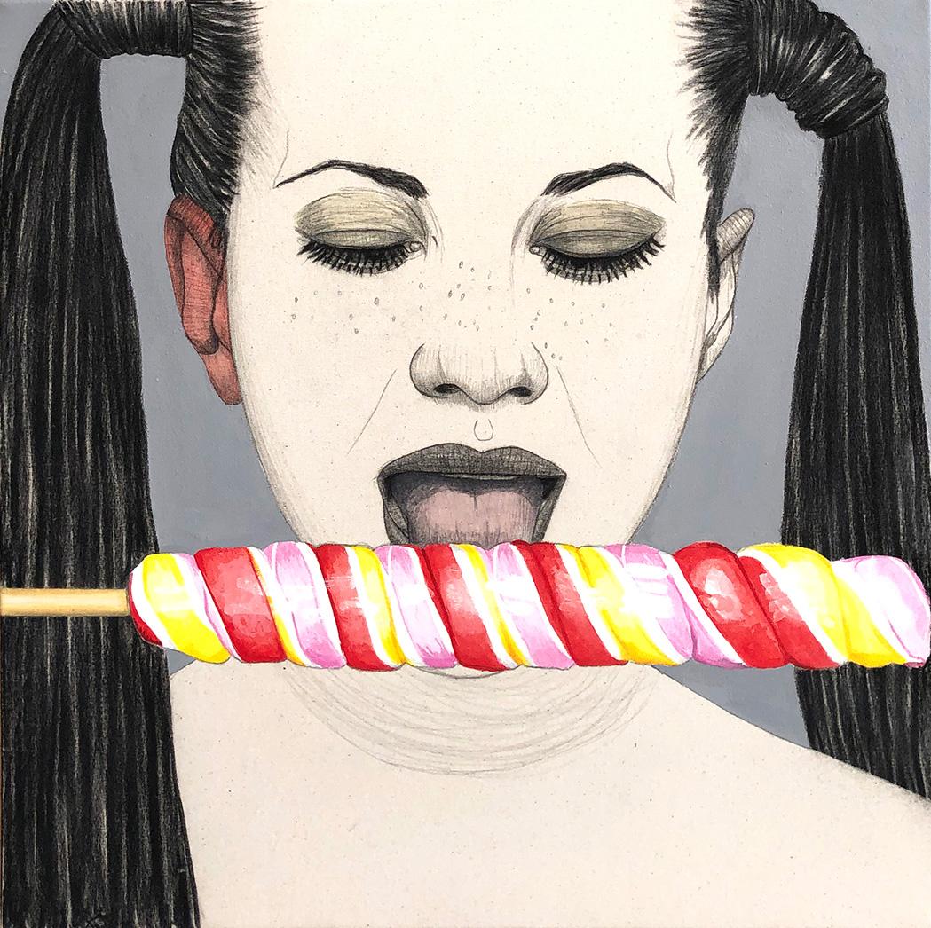 Mateo Andrea, PIRULO, mixed media on canvas, 50 x 50 cm, 2020