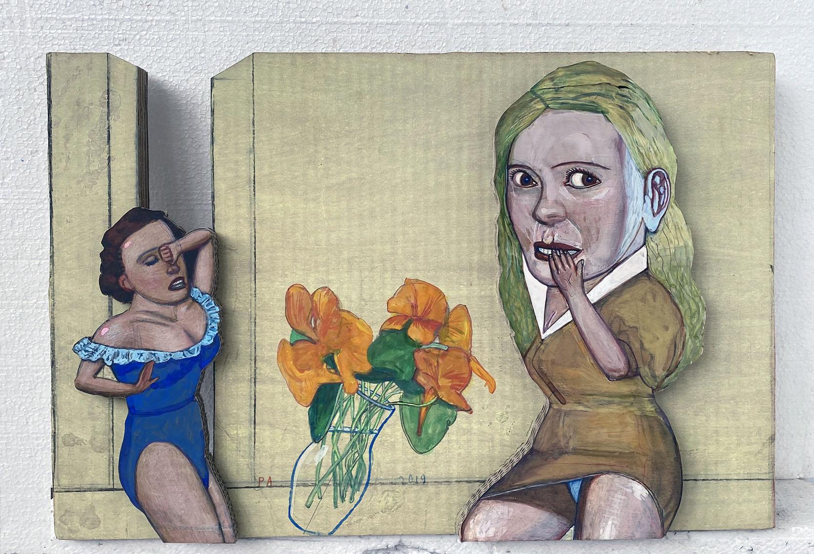 Pat Andrea, Honte et désespoir, mixed media on carton, 60 x 40 x 6 cm, 2020