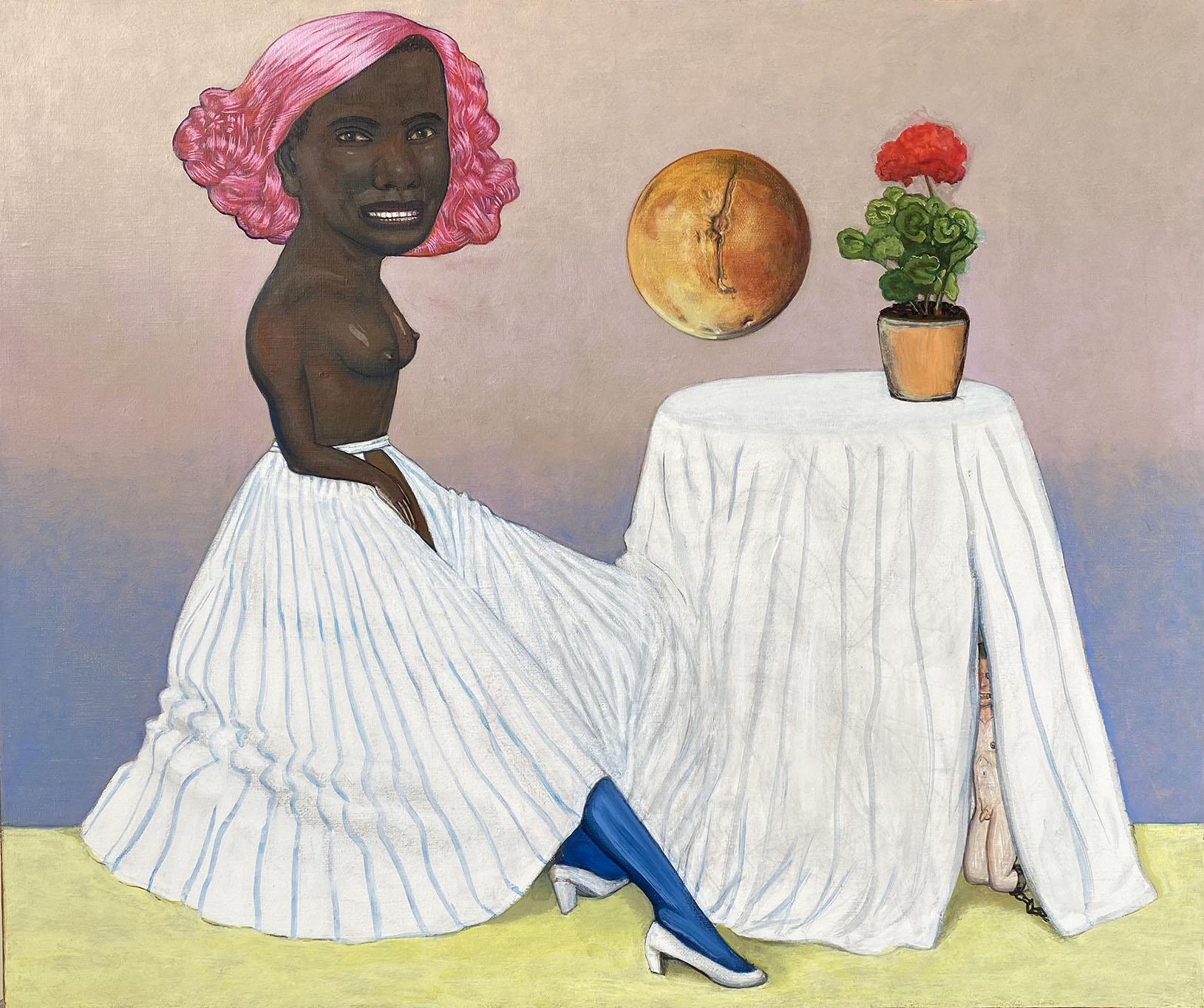 Pat Andrea, La première astronaute pour Mars, oil and casein paint on canvas, 54 x 65 cm, 2021