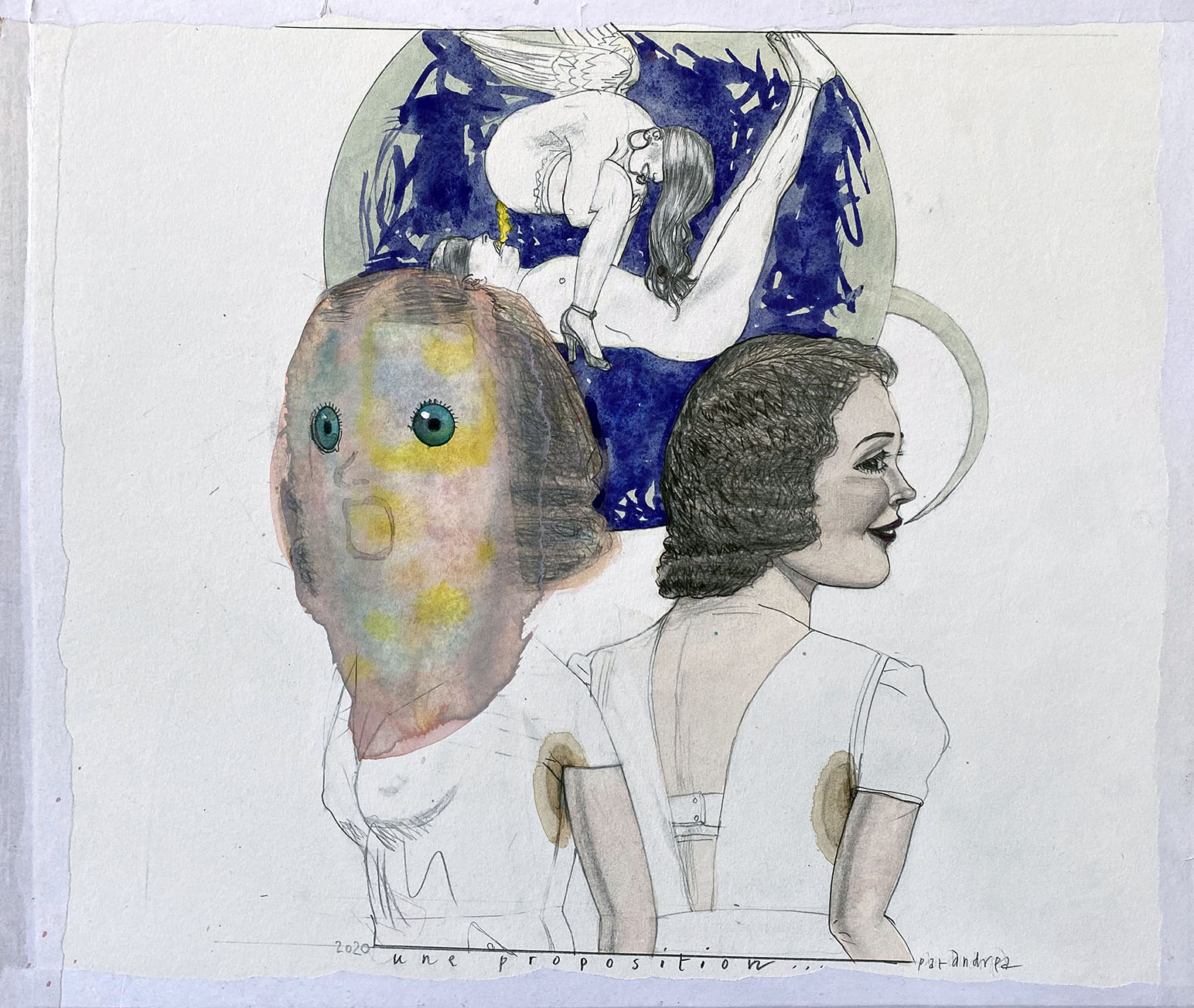 Pat Andrea, Une proposition, mixed media on paper, 40 x 45 cm, 2020
