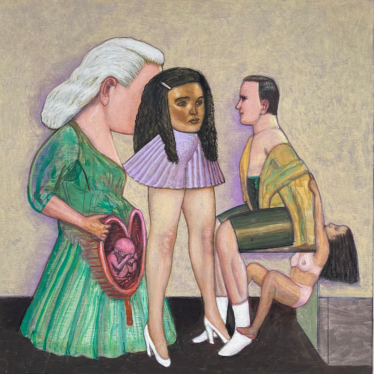 Pat Andrea, What they want, oil and casein paint on canvas, 30 x 30 cm, 2021