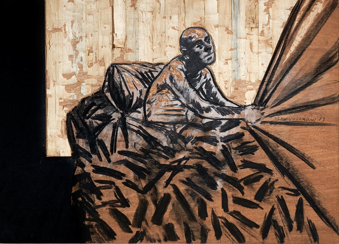 Michalis Manousakis,  acrylics, charcoal and woodcarving, 50 x 70 cm, 2013
