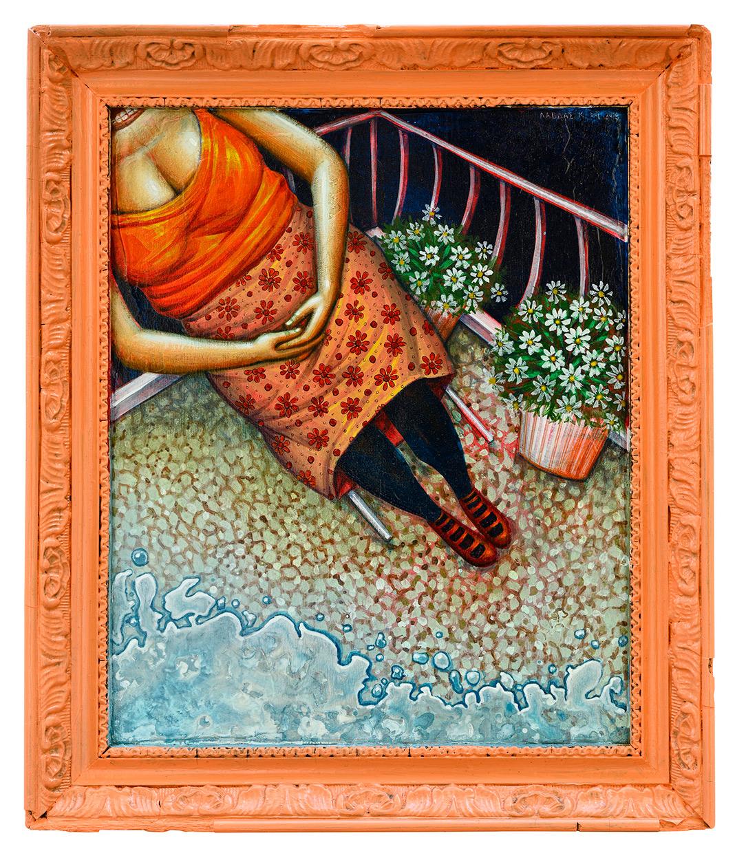On the balcony, 29 x 34 cm, Acrylics on wood