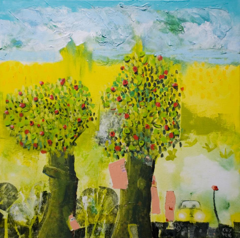 On the road, trees with fruit, 70 x 70 cm