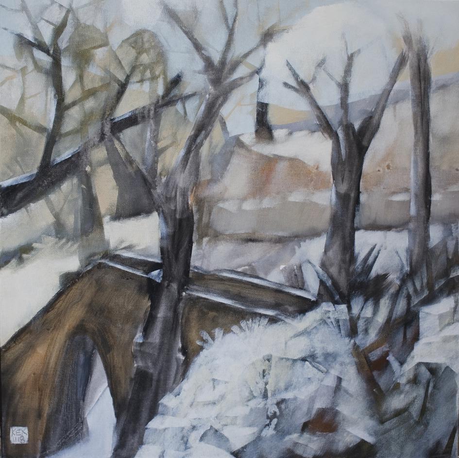 Bridge in the Snow, 50 x50 cm