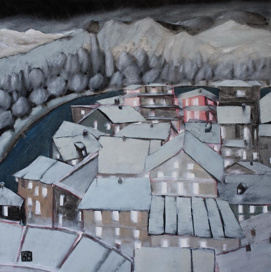 White Night Town by the River, 50 x50 cm