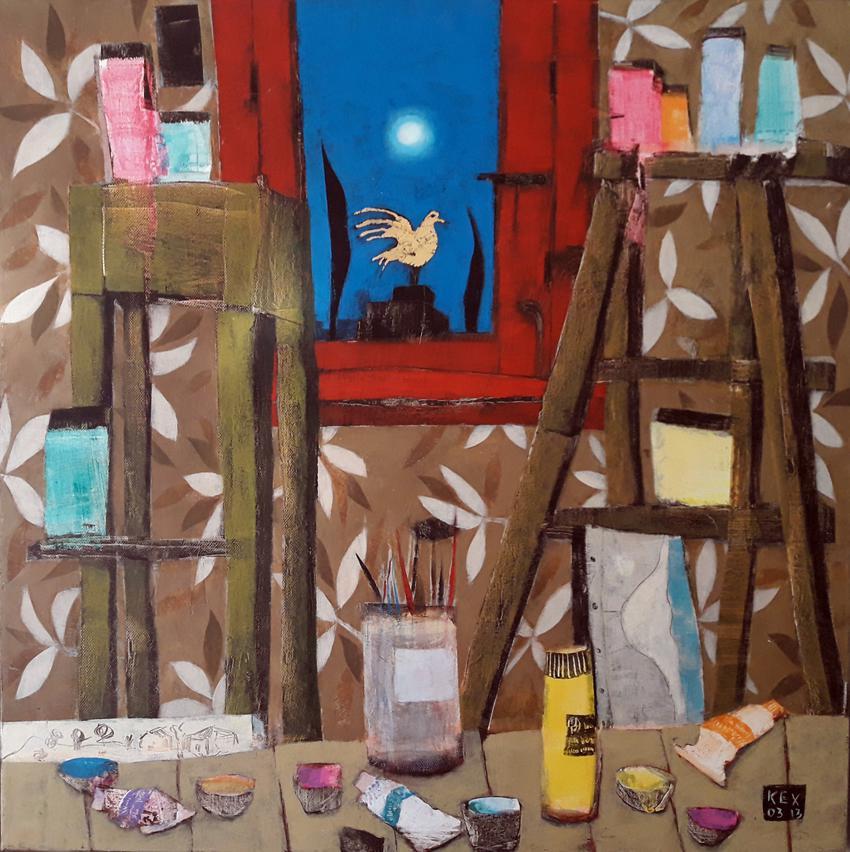Night Studio, 70 x 70 cm
