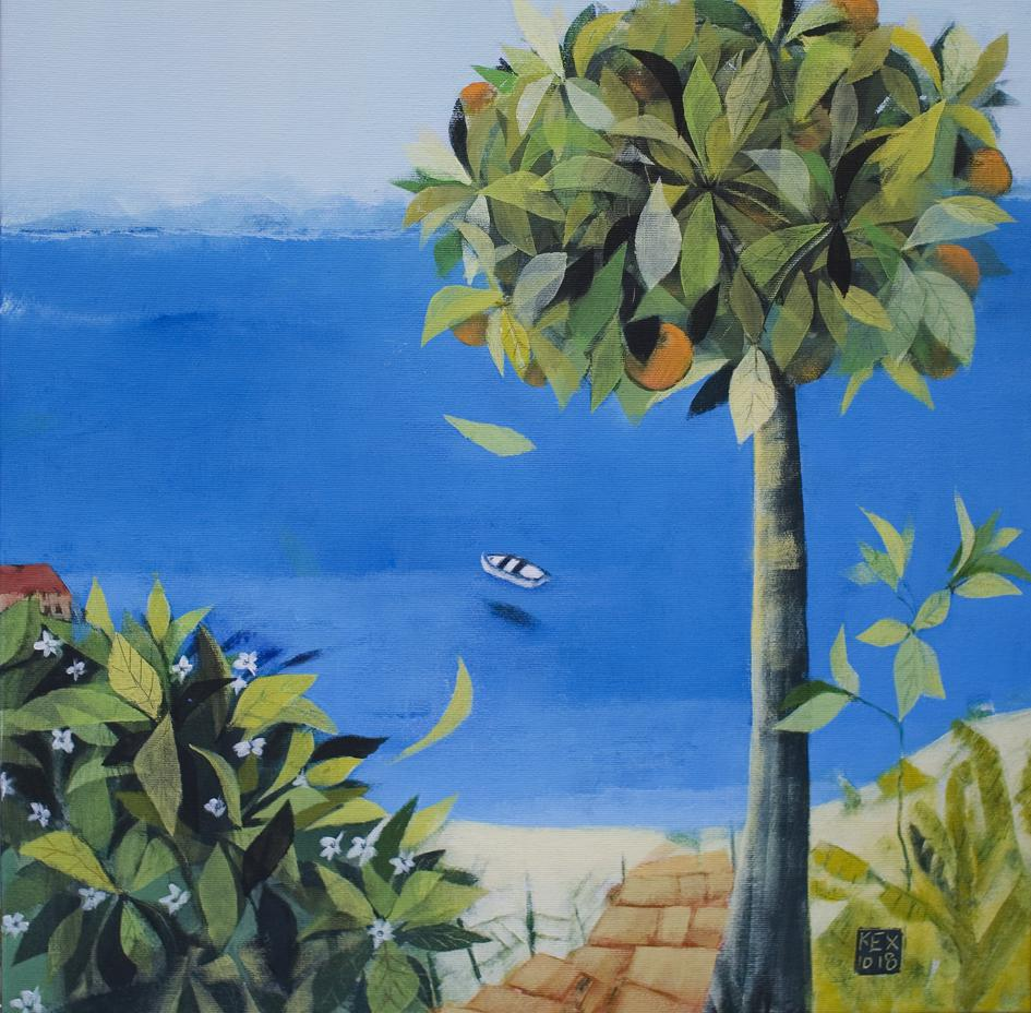Orange Tree at the Wooden Stair, 50 x 50 cm