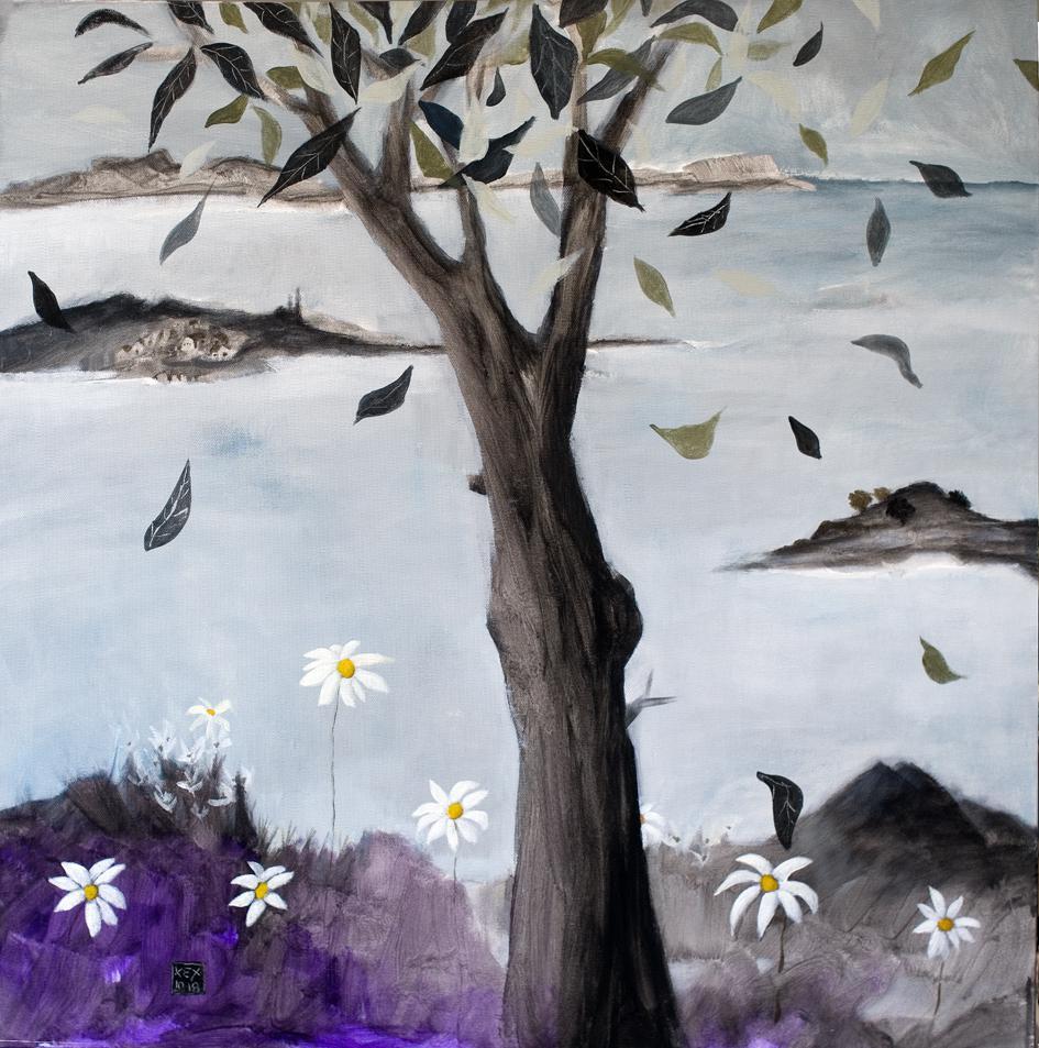 Tree with Daisies, 70 x 70 cm