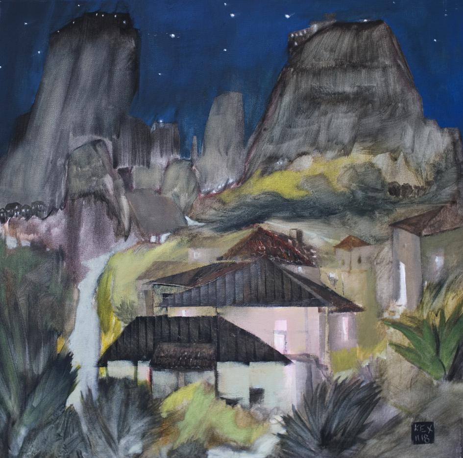 The Elven Village, 50 x 50 cm