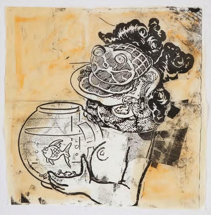 Steve Gianakos, Untitled Girl With Fihbowl, mixed media on paper, 51 x 52 cm, 1996 (Courtesy: AD Gallery)