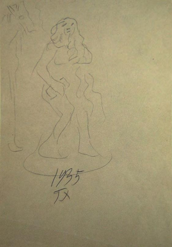 Nereid And Horse, charcoal pencil on paper, 30 x 20 cm, 1935 (Courtesy: AD Gallery)