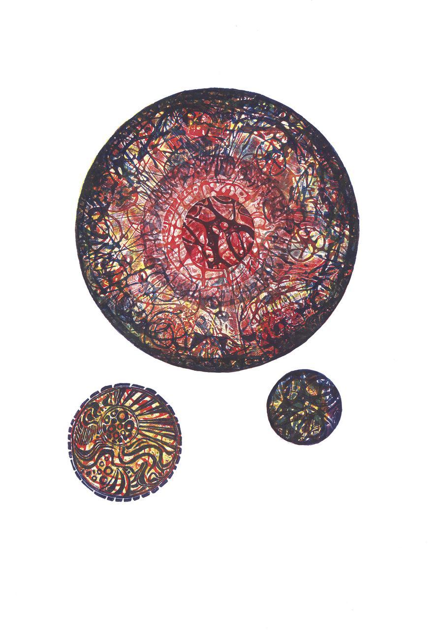 Alpha Orionis, collagraph, 31 x 45 cm, 2014