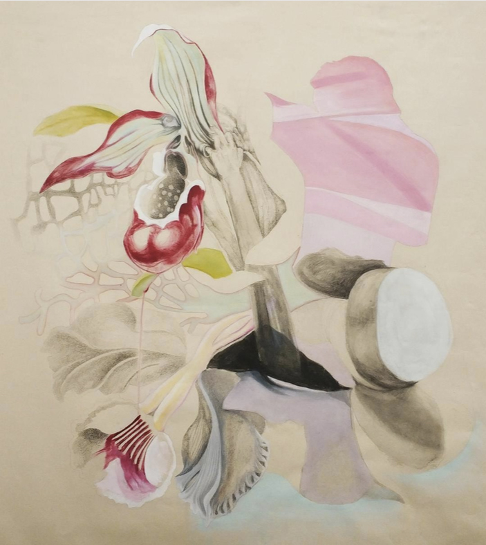 Ira Vitali, The Pink Tupperware, oil and pencil on canvas, 120x95 cm