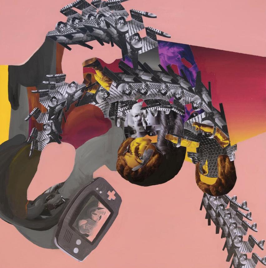 Christos Katsinis, Snake Ride, mixed media (collage and acrylics on canvas), 60x60 cm, 2020