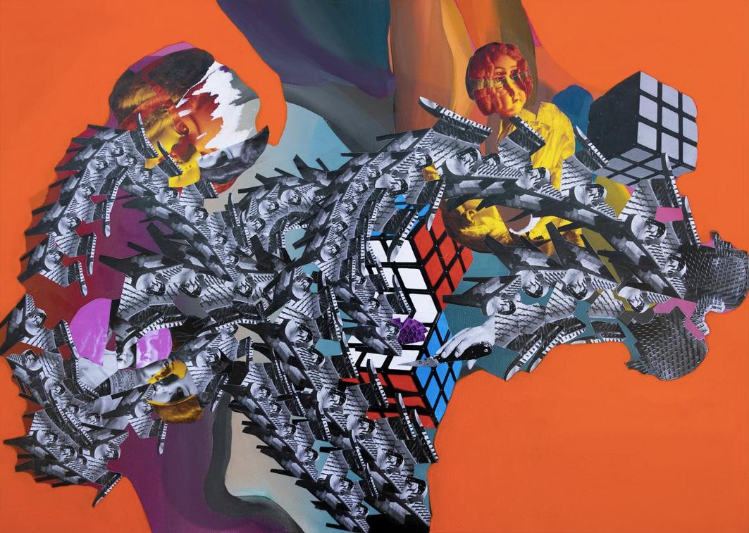Christos Katsinis, Escape, mixed media (collage and acrylics on canvas), 60x80 cm, 2020