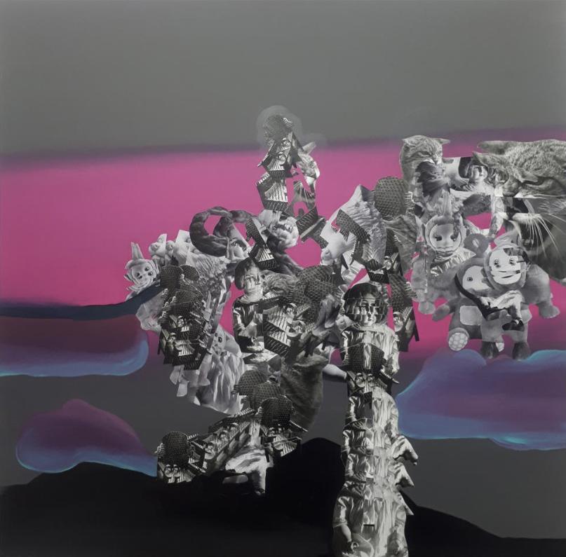 Christos Katsinis, School Primer XII, mixed media (collage and acrylics on canvas), 100x100 cm, 2020