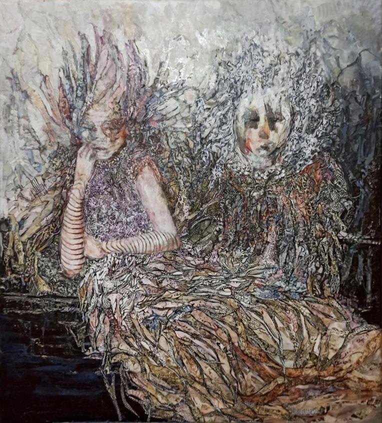 Sofia Papadopoulou, Deadly love, mixed media, 100x90 cm