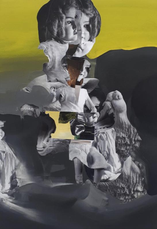 Christos Katsinis, School Primer VIII, mixed media (collage and acrylics on canvas), 40x57 cm