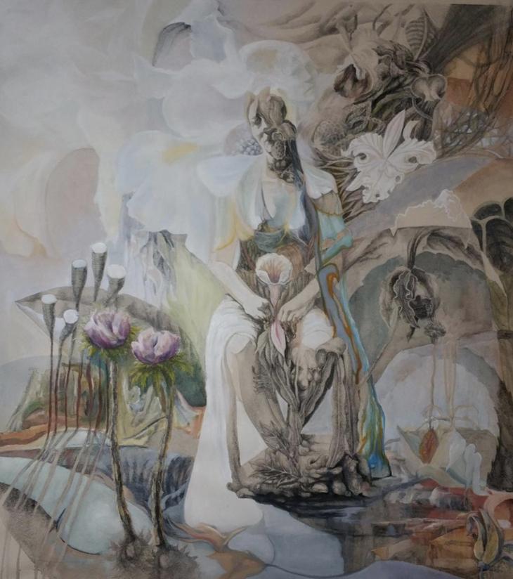 Ira Vitali, Untitled, pencil and oil on canvas, 100x110 cm