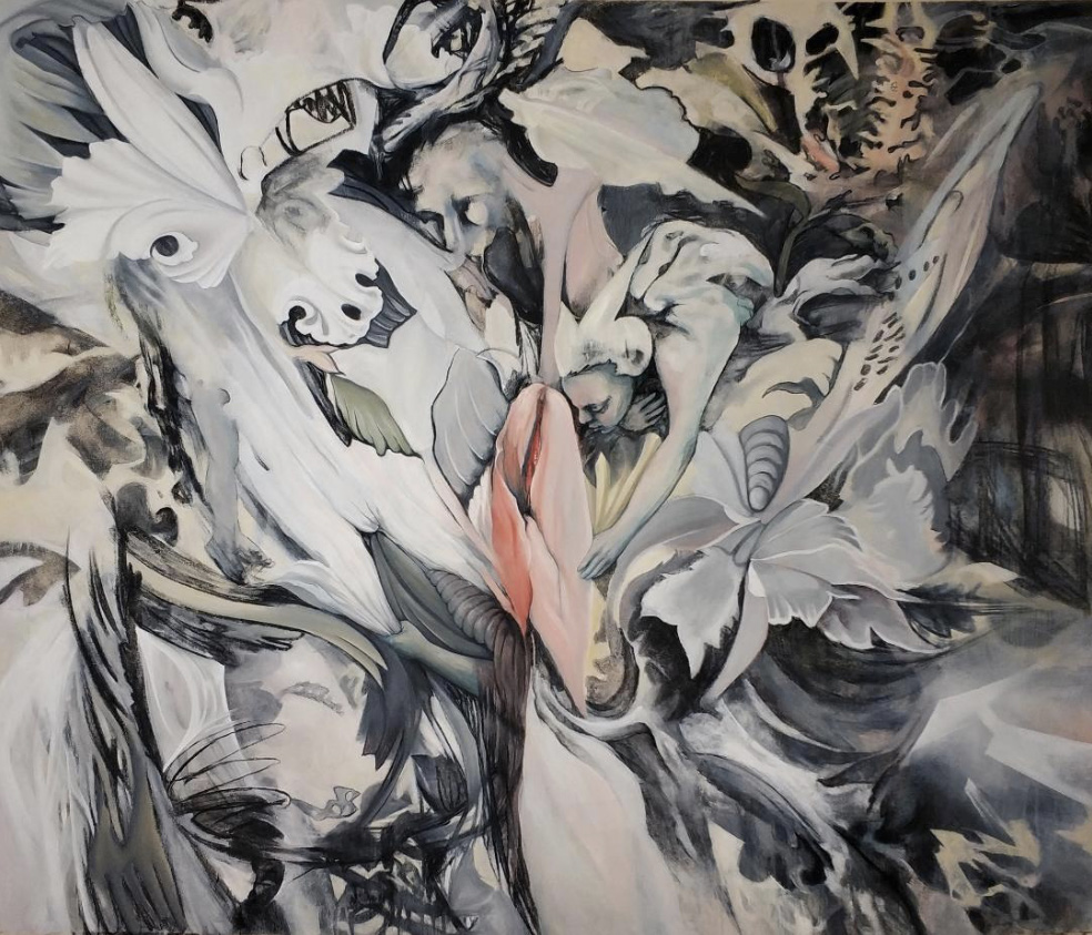 Ira Vitali, The Smell, oil and charcoal on canvas, 140x165 cm