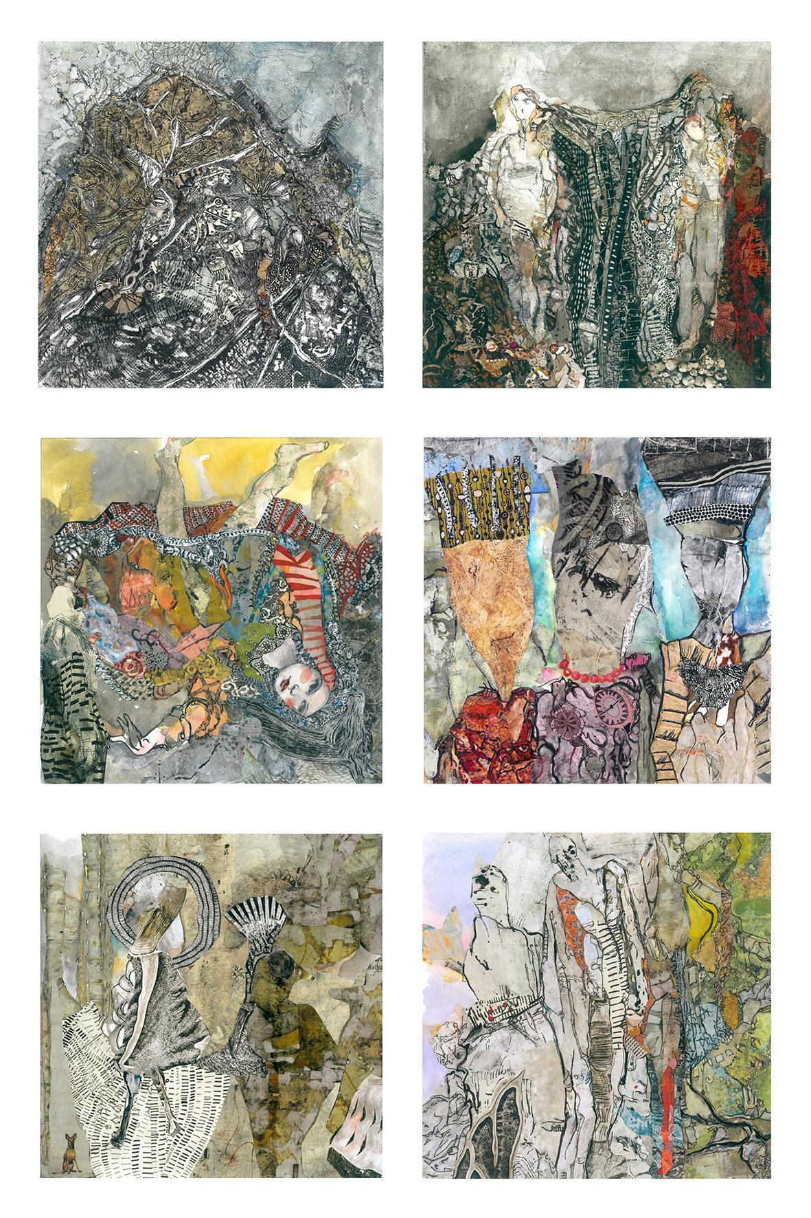 Sofia Papadopoulou, Untitled, mixed media, 25x25 cm each