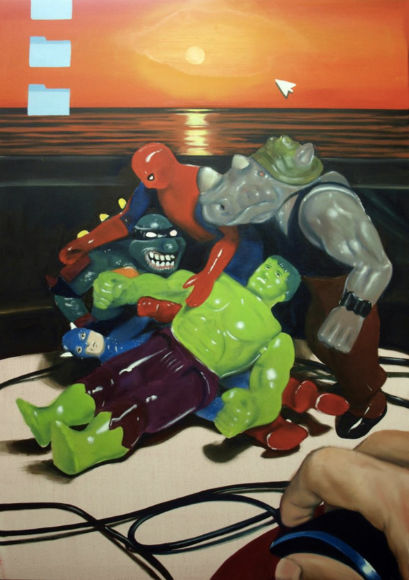 Andreas Spiliotopoulos, Toys and Sunset, oil on canvas, 150x100 cm, 2020