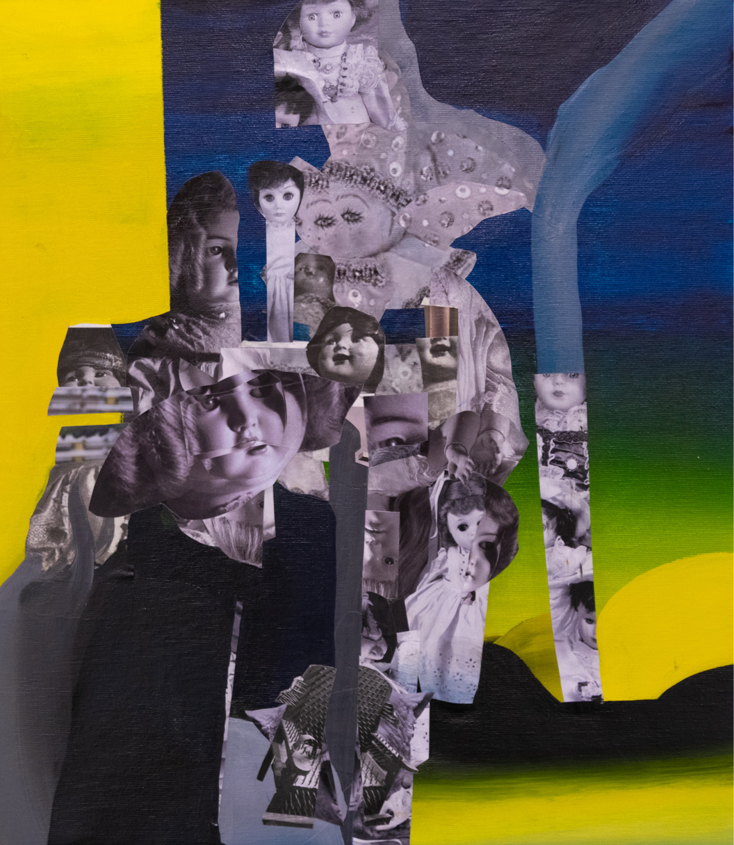 Christos Katsinis, School Primer X, mixed media (collage and acrylics on canvas), 50x43 cm