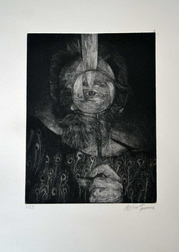 Aggelina Tsoumani, Loukas Smaras, engraving on metal, 15 x 20 cm, 2016