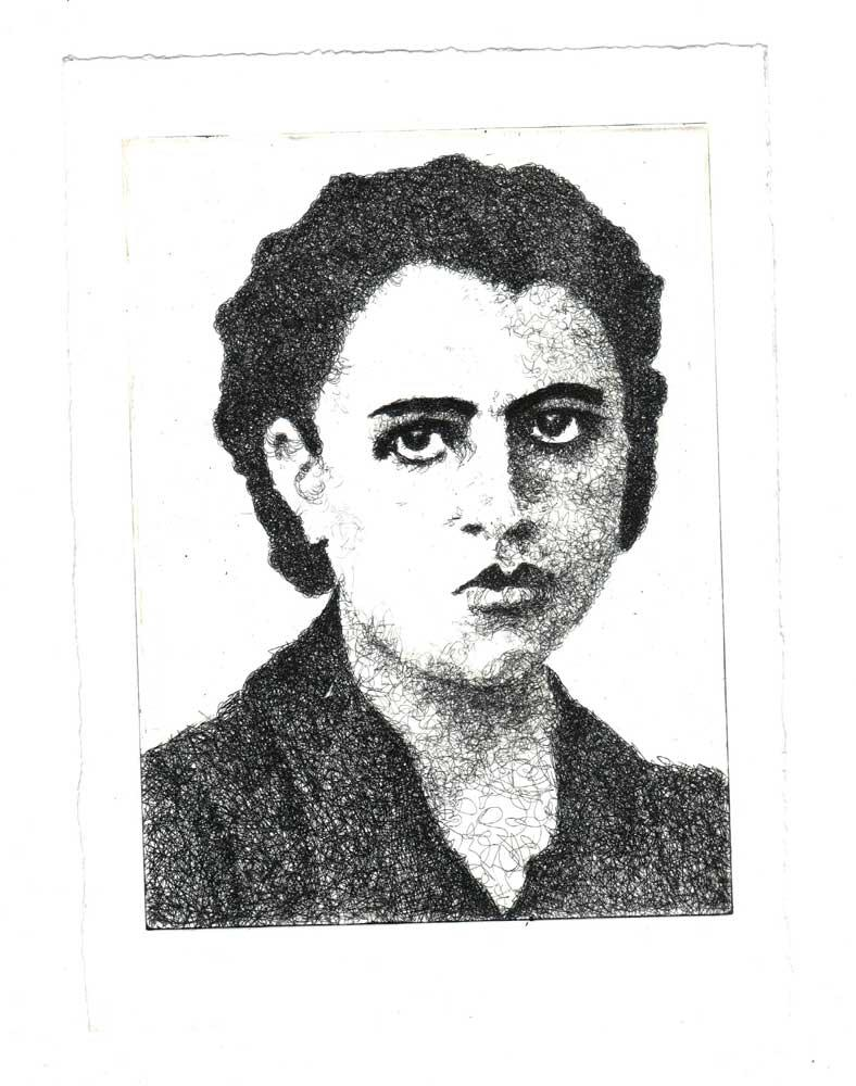 Ariadni Pediotaki, Sotiria Bellou, engraving on metal, 15 x 20 cm, 2016