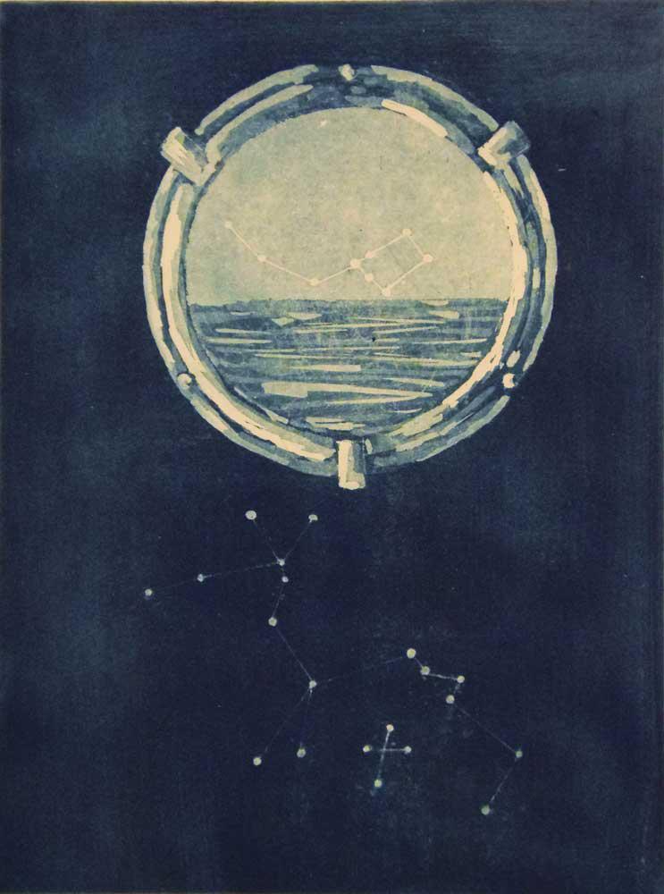 Efi Badazou. Nikos Kavvadias, engraving on metal, 15 x 20 cm, 2016