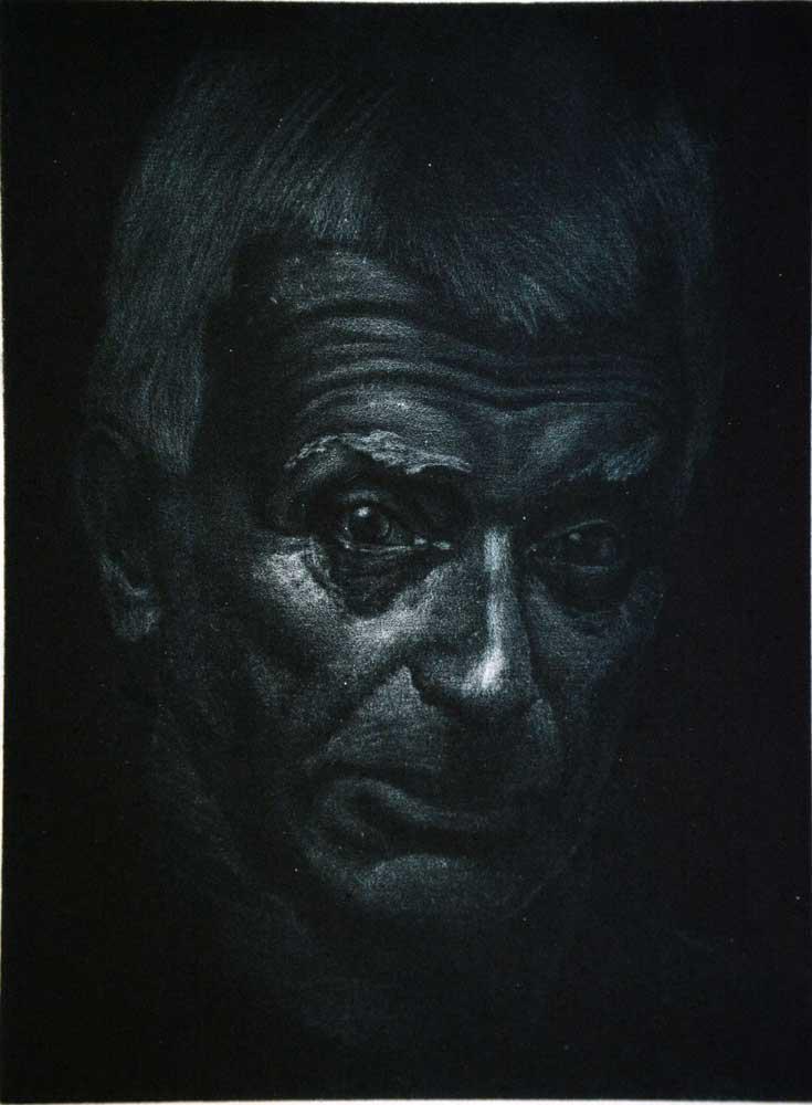 Lefteris Veletzzas, Panayiotis Tetsis, engraving on metal, 15 x 20 cm, 2016