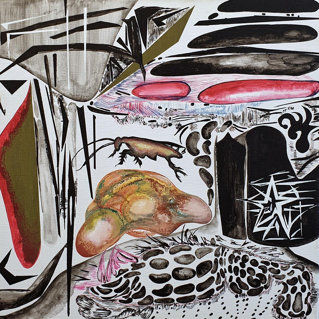 Vana Fertaki, Space I, varnish and oil on canvas,  40 x 40 cm, 2018