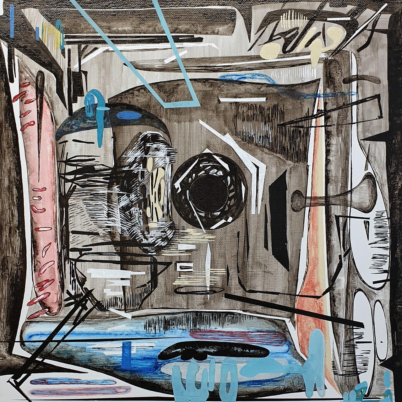 Vana Fertaki, Space, varnish and oil on canvas,  40 x 40 cm, 2018