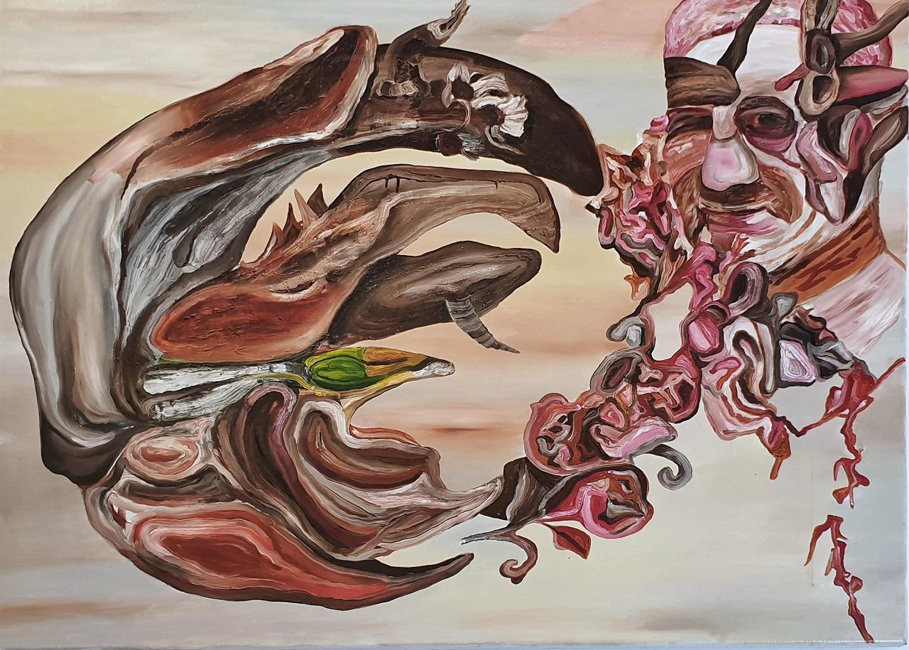 Giorgos Kazazis, Wave, oil on canvas,  110 x 135 cm, 2017