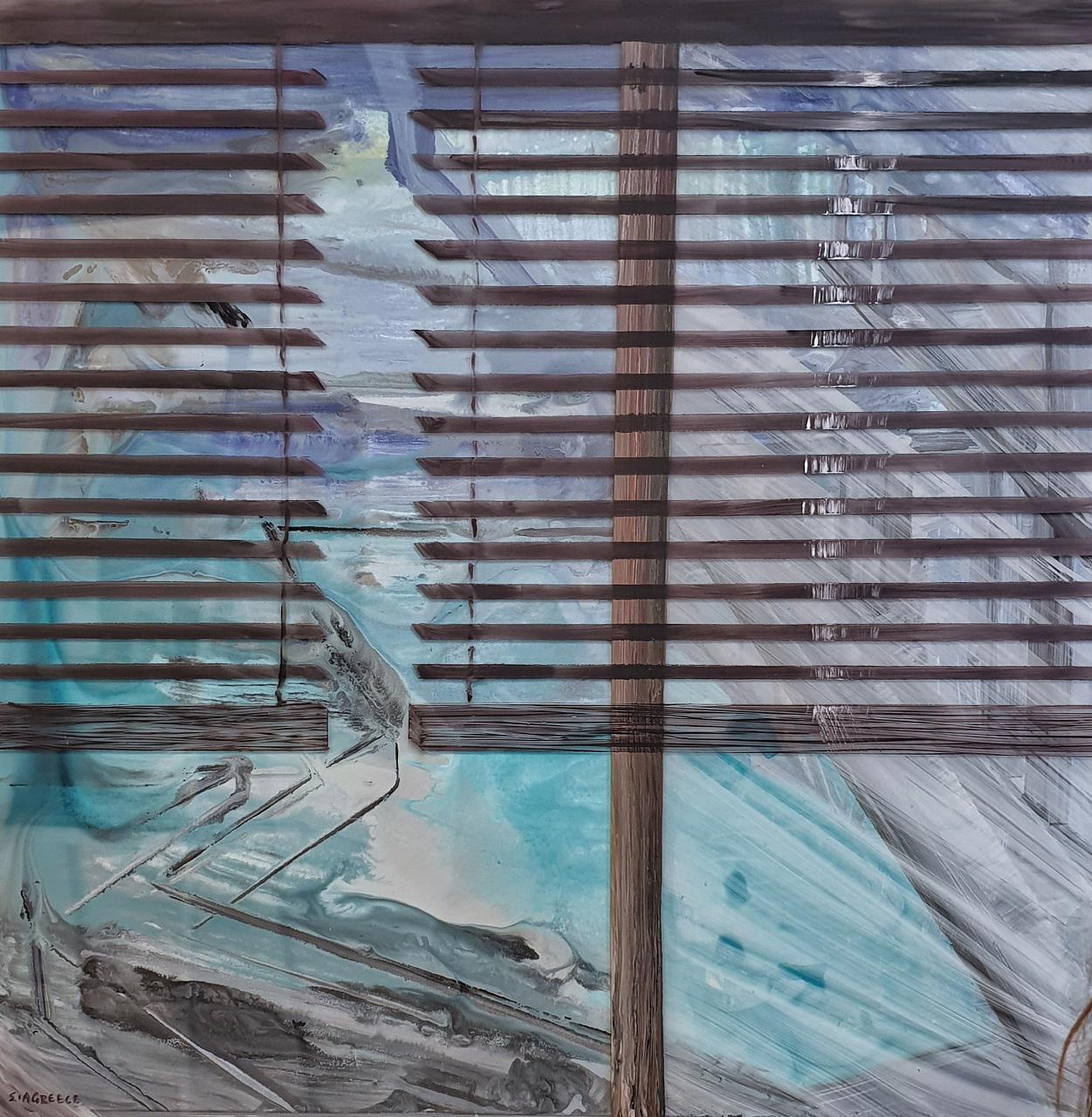 Panagiotis Siagris, Through the blinds, water based varnish color on canvas and plexiglass, 80 x 80 cm, 2015