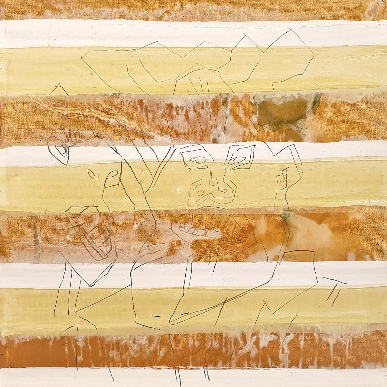 Haralabos Katsatsidis, Ultimatum II, oil on canvas,  35 x 35 cm, 2018