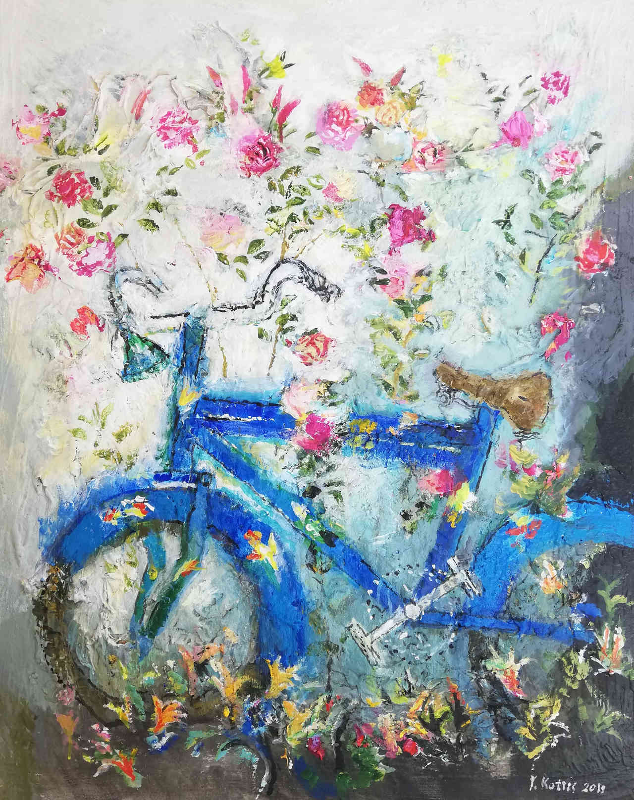 Giannis Kottis, Blue bike, oil on canvas, 110 x 80 cm, 2019