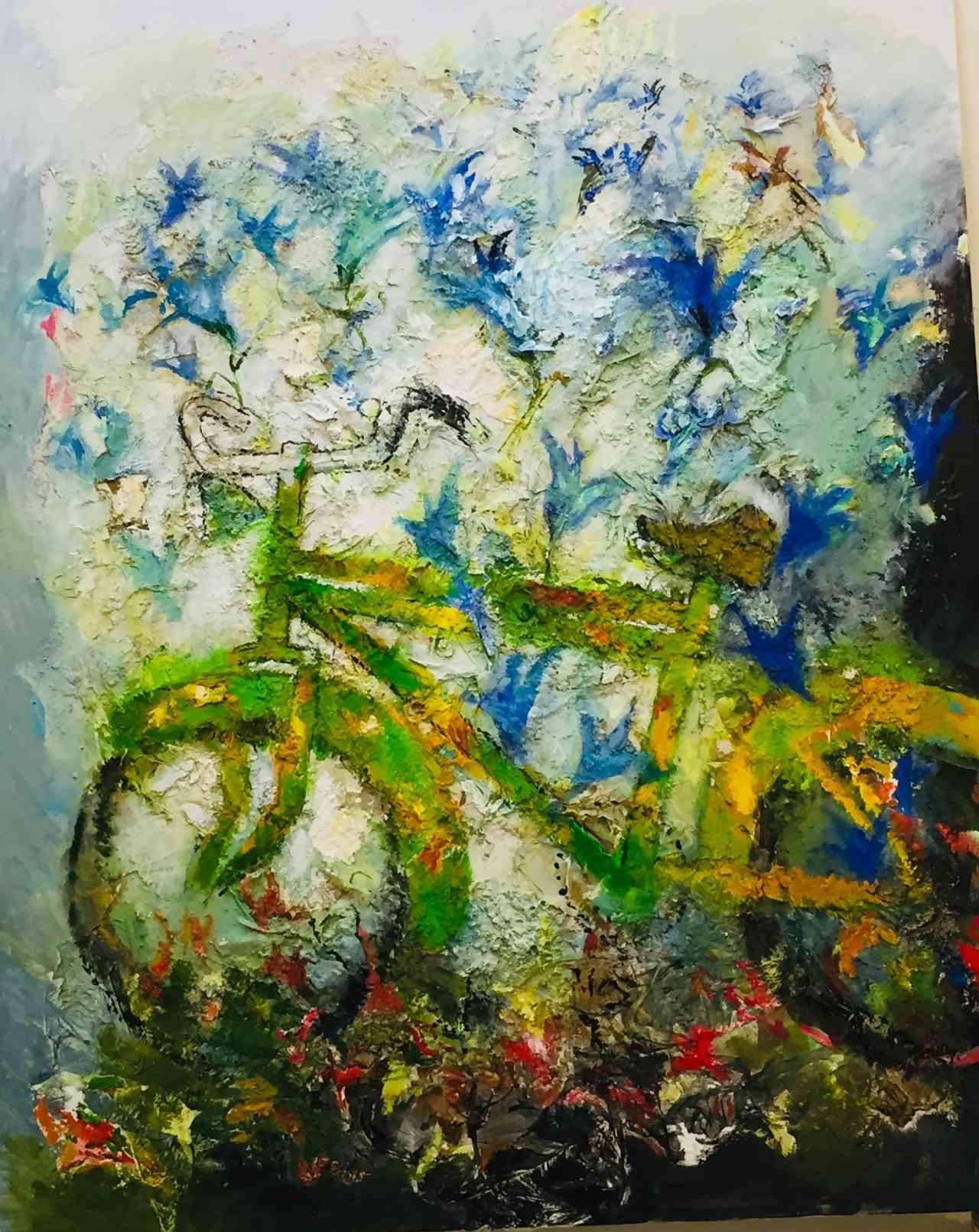 Giannis Kottis, Bike with flowers, oil on canvas, 160 x 130 cm, 2019