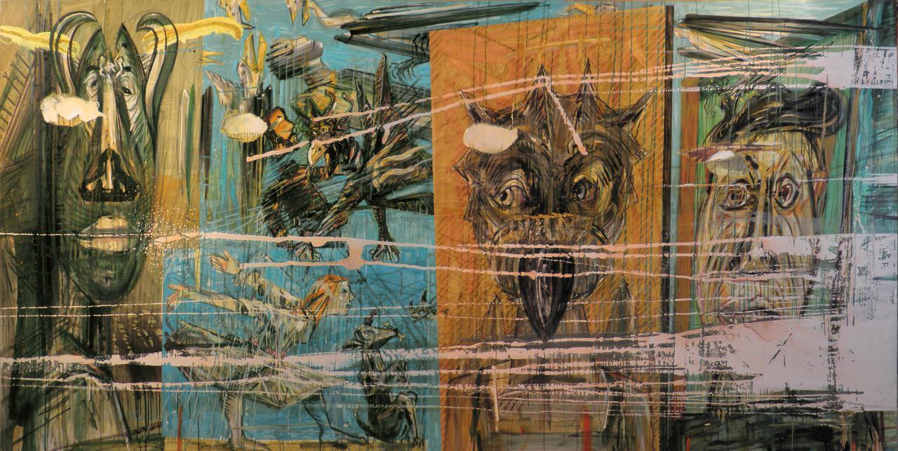 Haralabos Katsatsidis, Painters go to heaven, 4 m x 2 m, oil on canvas, 2016-18
