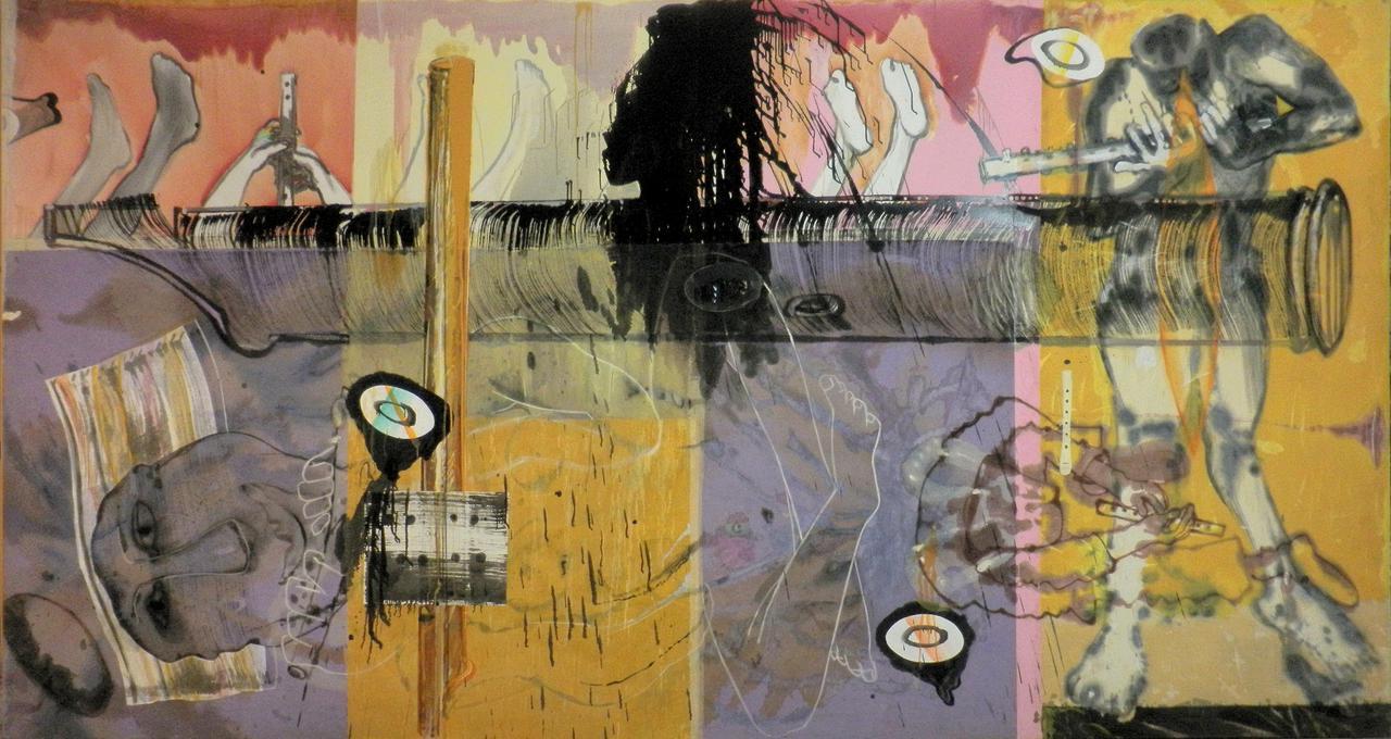 Haralabos Katsatsidis, Learning the flute, 4 m x 2 m, oil on canvas, 2014-16