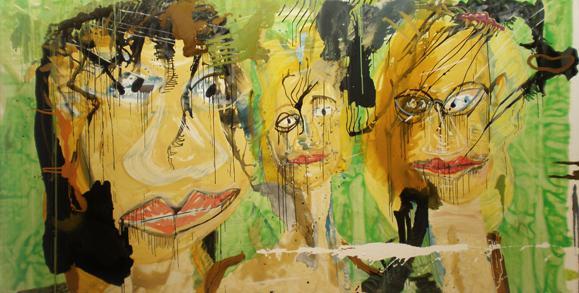 Haralabos Katsatsidis, Three dirty ladies4 m x 2 m, oil on canvas, 2015-17