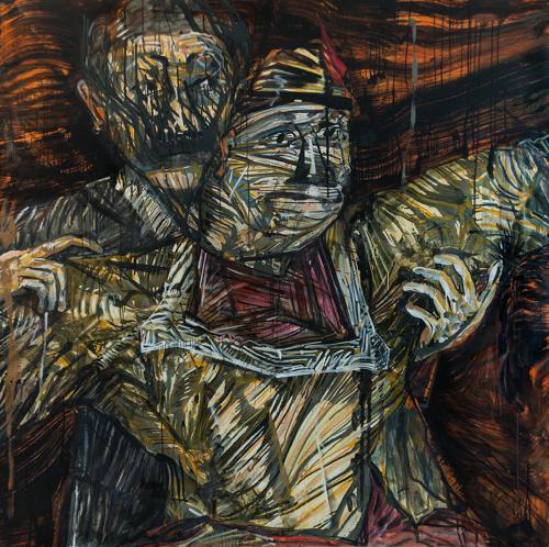 Haralabos Katsatsidis, Inferno couple, 2 m x 2 m, oil on canvas, 2015-16