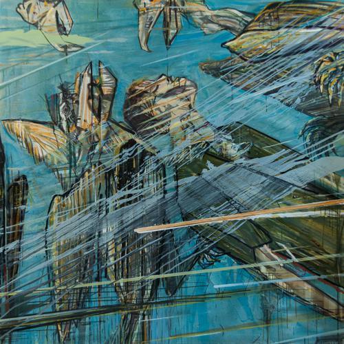 Haralabos Katsatsidis, Heroes go to heavens, 2 m x 2 m, oil on canvas, 2014-15