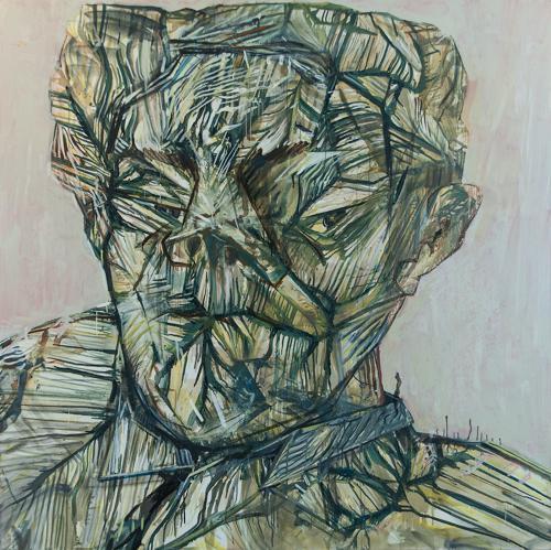 Haralabos Katsatsidis, Portrait of a man I, 2 m x 2 m, oil on canvas, 2014-15